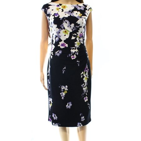 Lauren Ralph Lauren NEW Black Women's Size 14 Sheath Floral Dress