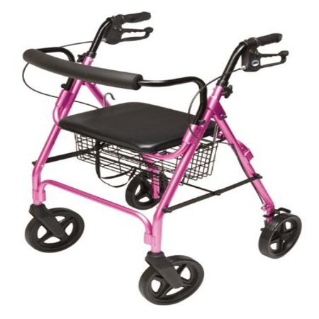 Lumex Walkabout Four-Wheel Contour Deluxe Rollator, Pink