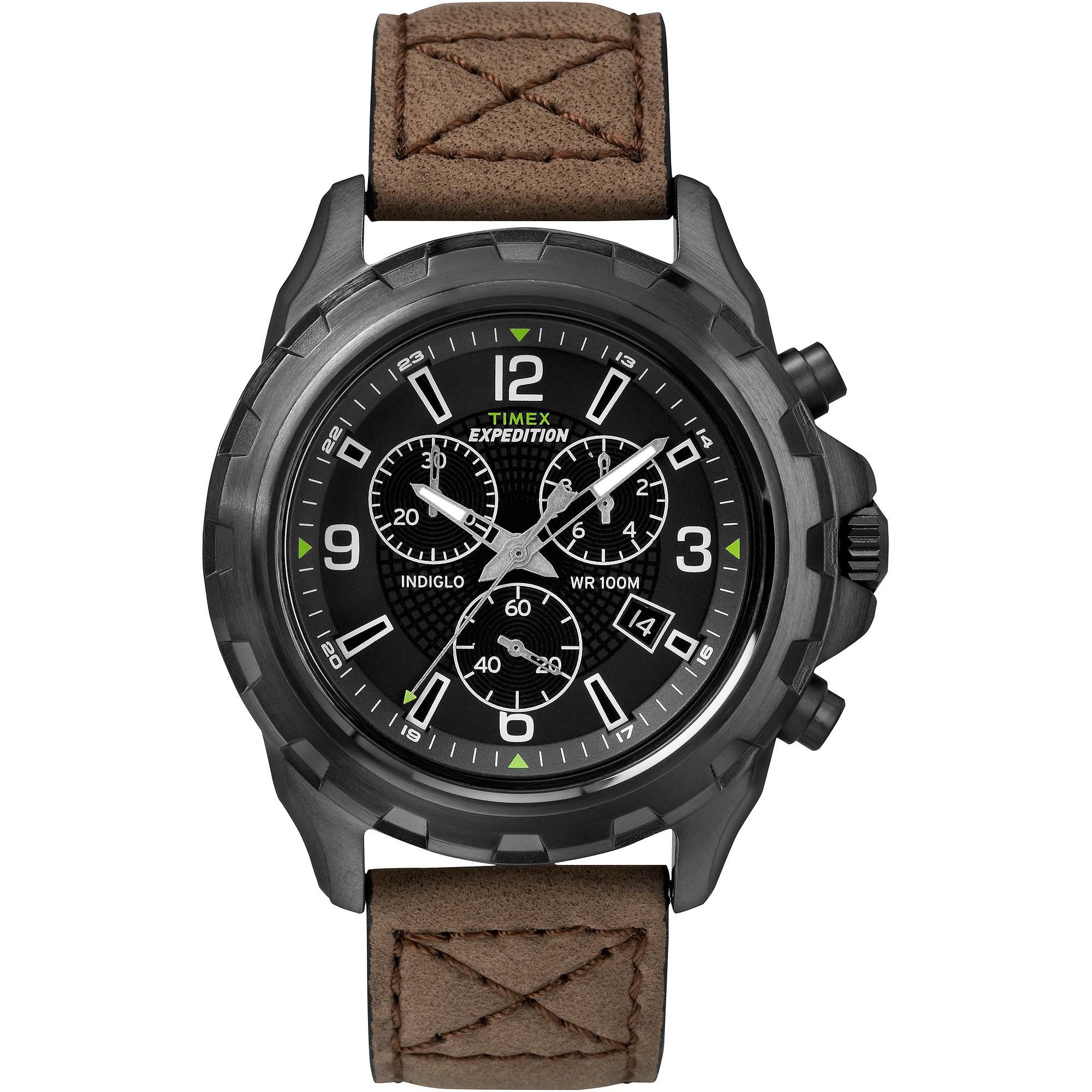 Timex Men's Expedition Rugged Chronograph Watch, Brown Leather Strap by Timex