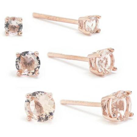 Fine Rose Gold Plate Over Sterling Silver Synthetic Morganite Stud Earring Set