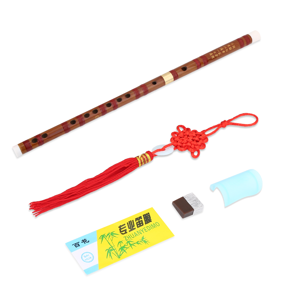 WALFRONT Exquisite Bitter Bamboo Flute Chinese Dizi Instrument 2 Sections F/G Key with Accessories, Chinese Dizi Instrument, Chinese Flute