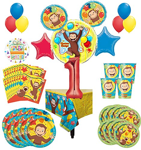 Curious George Party Supplies 8 Guest Kit 1st Birthday Balloon Bouquet Decorations by