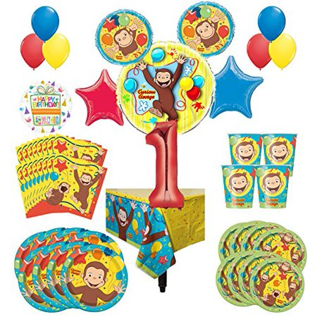 Curious George Party Supplies 8 Guest Kit 1st Birthday Balloon Bouquet Decorations (Curious George Party Decorations)