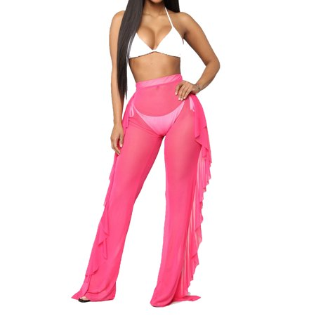 1c43e1b5f Sexy Womens See Through Sheer Mesh Ruffle Trousers Swimsuit Beach Cover up  Long Pants Bell Bottoms Rose Red L