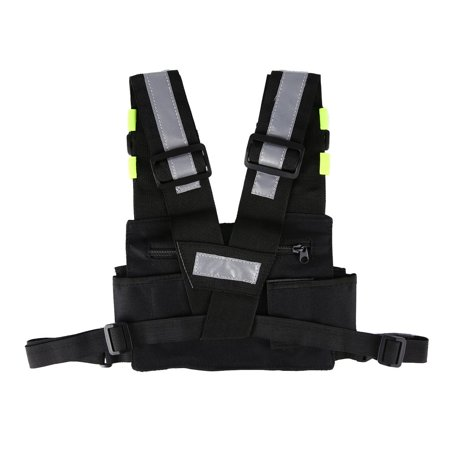 Radio Harness Chest Rig Bag Front & back Reflective Double Pocket Holster Vest - image 7 de 9