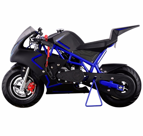 40CC 4-Stroke Gas Power Mini Pocket Motorcycle Ride-on, Blue Black, EPA Certificated by