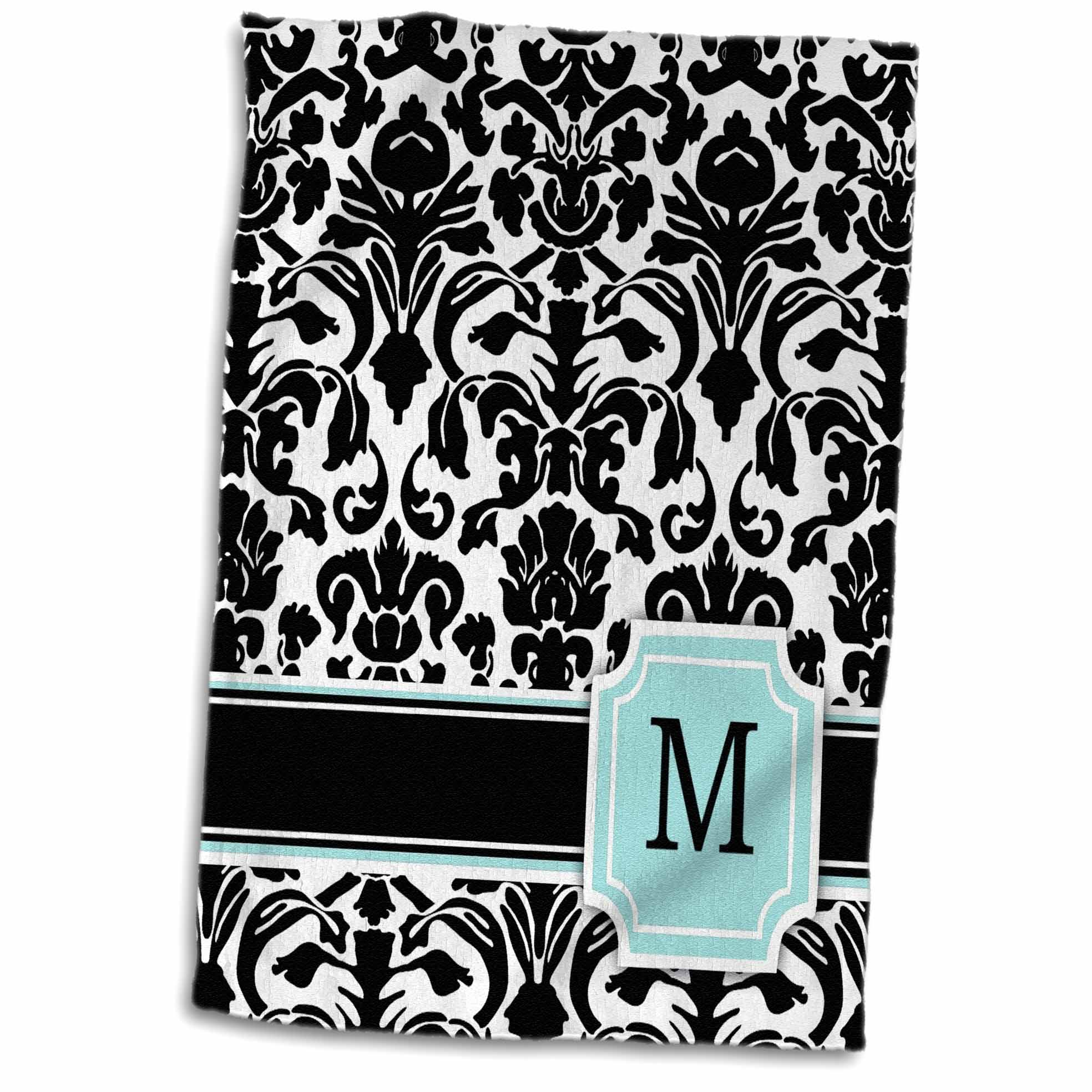 3dRose Letter M personal monogrammed mint blue black and white damask pattern - classy personalized initial - Towel, 15 by 22-inch