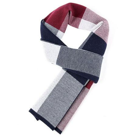 (Men's Winter Soft Long-Plaid Scarves Cashmere Winter Neck Scarf Shawl Wrap for Men (Red Blue))