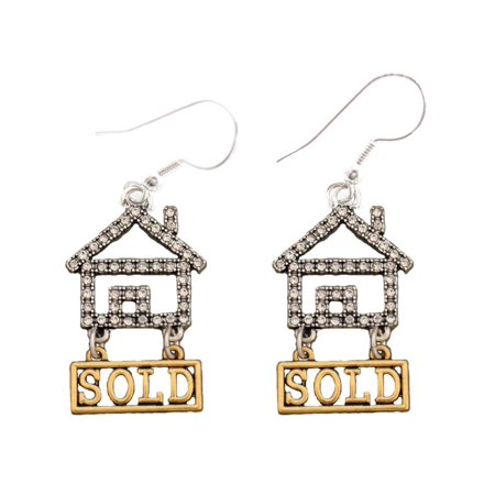 Gold Jewelry Wire (Real Estate Realtor Crystal House Gold Sold Silver Wire Hook Earrings Jewelry Home Seller)