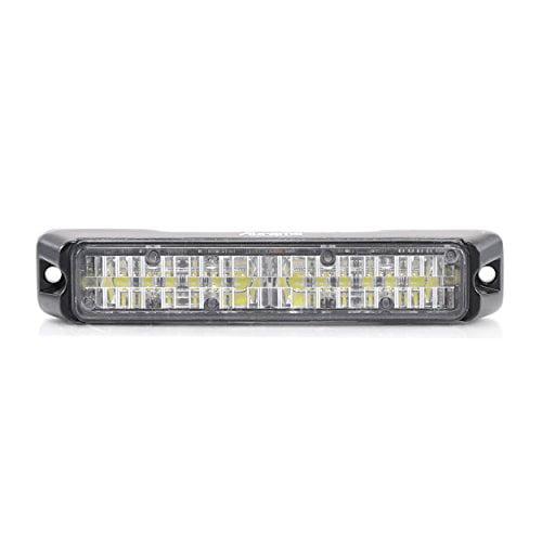 Abrams SAE Class-1 Flex 12 LED Emergency Vehicle Truck LED Grille Light Head Surface Mount Strobe Warning Light 36W White//White