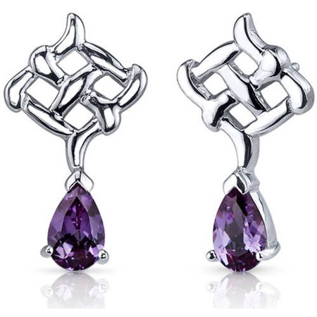 Oravo 2.00 Carat T.G.W. Pear-Shape Alexandrite Rhodium over Sterling Silver Drop Earrings