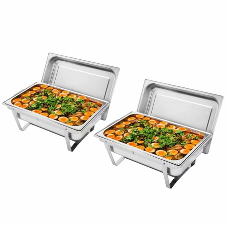 ZOKOP 9L-1*2 Single Basin Two Set Stainless Steel Rectangular Buffet Stove Single Basin Stand
