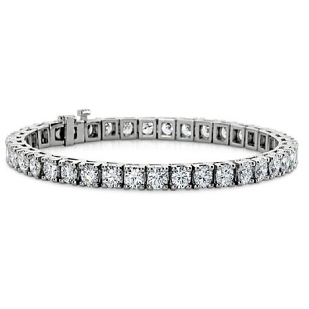 9.00 ct Ladies Round Cut Diamond Tennis Bracelet in 14 kt White Gold by Madina Jewelry