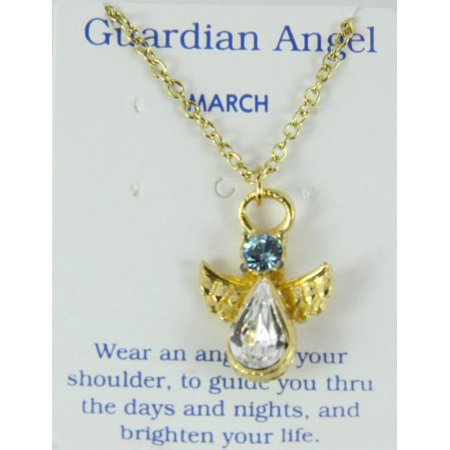 March Birthstone Angel Necklace Pendant Guardian Secret Friend Apprec... - Guardian Angel Necklace