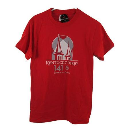 Official Kentucky Derby 141 Red Logo T-Shirt May 2, 2015 American Pharoah M