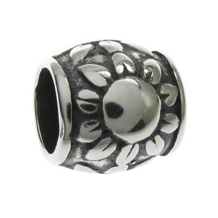 Queenberry Sterling Silver The Sunflower European Style Bead Charm Fits Pandora (Sunflower Charm)