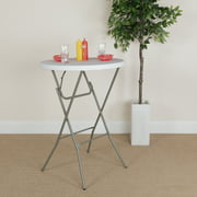 Flash Furniture 2.6-Foot Round Granite White Plastic Bar Height Folding Table