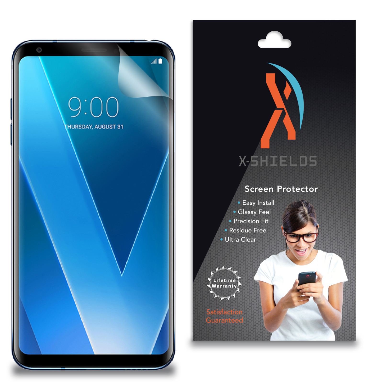 XShields© High Definition (HD+) Screen Protectors for LG V30+ (Maximum Clarity) Super Easy Installation [4-Pack] Lifetime Warranty, Advanced Touchscreen Accuracy