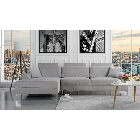 Modern Large Linen Fabric Sectional Sofa L Shape Couch With Extra Wide Chaise Lounge