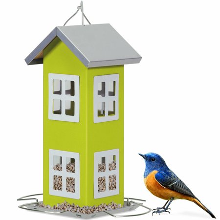 Gymax Outdoor Wild Bird Feeder Weatherproof House Design Garden Yard Decoration Green Bird Feeder Weather Dome