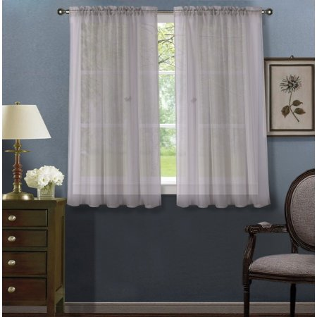 2pc Silver Solid Sheer Voile Window Curtain Set, Two (2) Rod Pocket Panels 55