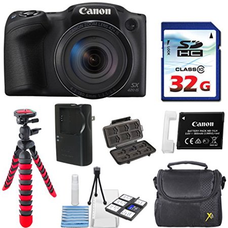 Canon PowerShot SX420 IS (Black) with 42x Optical Zoom and Built-In Wi-Fi with 32GB High Speed Memory Card + Deluxe Camera Case + Flexible Spider Tripod + Starter Kit Deluxe Accessory Bundle