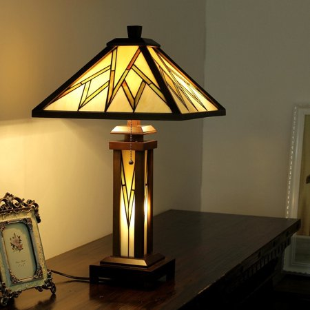 Chloe  Tiffany Style Mission Design Double Lit 2+1-light Dark Walnut Table Lamp Lamp