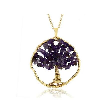 Beautiful Purple Amethyst Chips Tree Of Life Necklace (Purple Amethyst Chips)