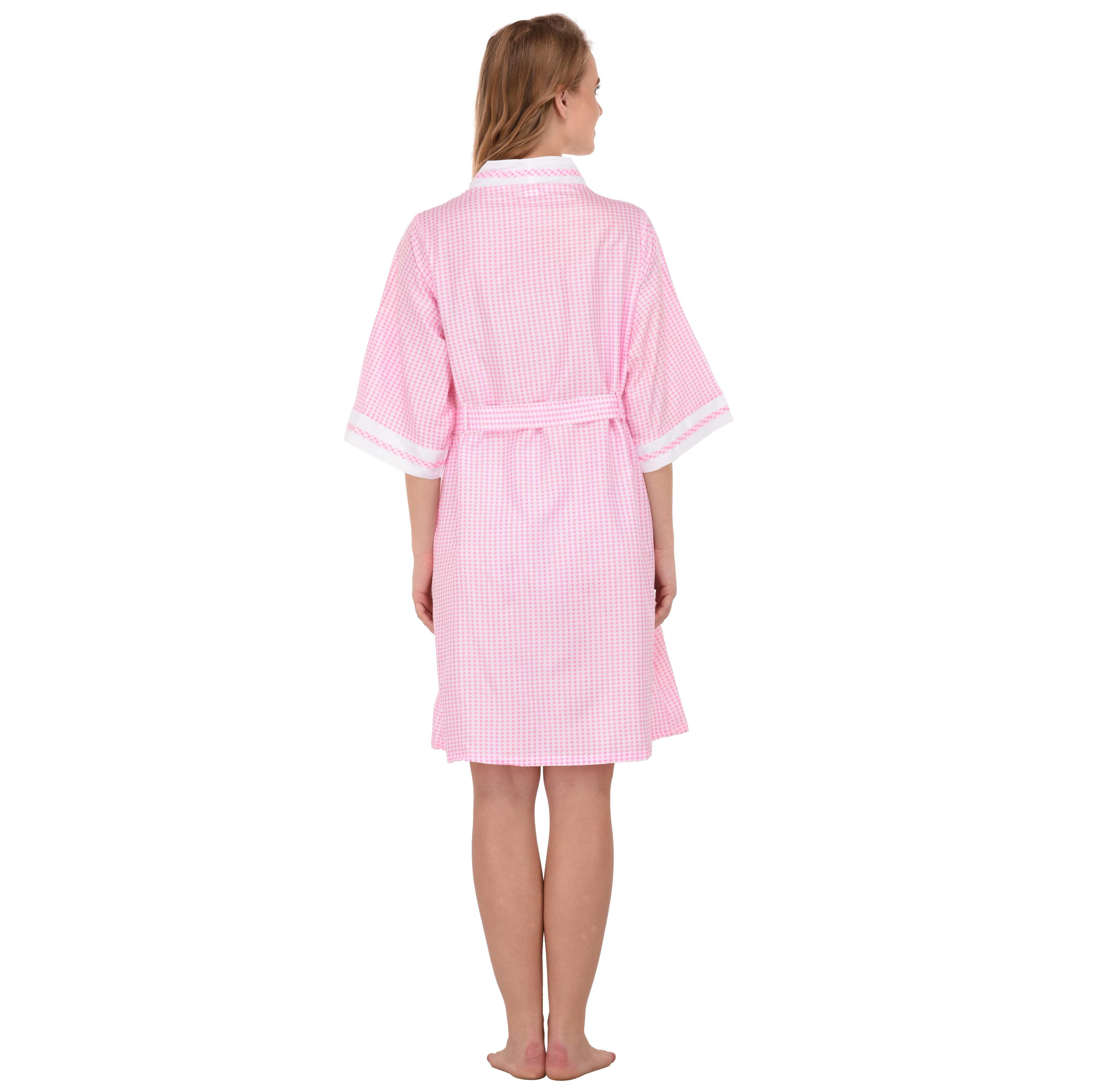 Women/'s /'Stacy/' Gingham Cotton Short House Robe