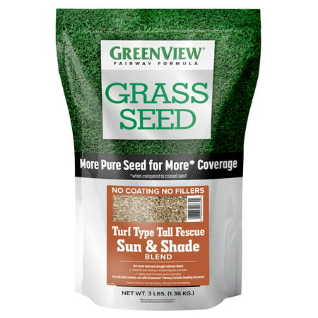 GreenView Fairway Formula Grass Seed Turf Type Tall Fescue Sun & Shade Blend - 3 (Type Of Grass That Grows In Shade)