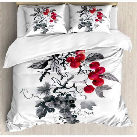 Rowan King Size Duvet Cover Set  Rural Nature Inspired Artistic Foliage Composition Wild Berry Plant With Leaves  Decorative 3 Piece Bedding Set With 2 Pillow Shams  Grey Ruby Black  By Ambesonne