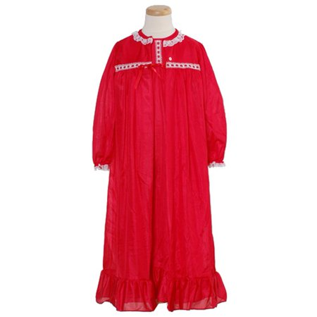 Laura Dare Toddler Little Girls 2T-14 Red Classic Nightgown Cover Up