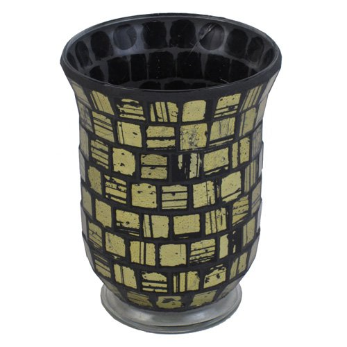 Firefly Mosaic Candle Holder - Gold / Black