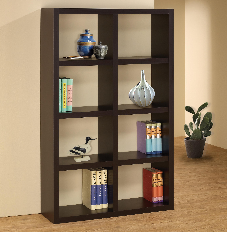 Minimalistic Design Cappuccino Finish Casual Storage Bookcase Coaster 800298