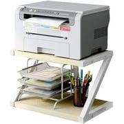 Desktop Stand for Printer Desktop Shelf with Anti, Storage Shelf for Home, Office, Printer Desk, Home Printer Stand, 2 Tier Tray with Hardware & Steel, Light Beige