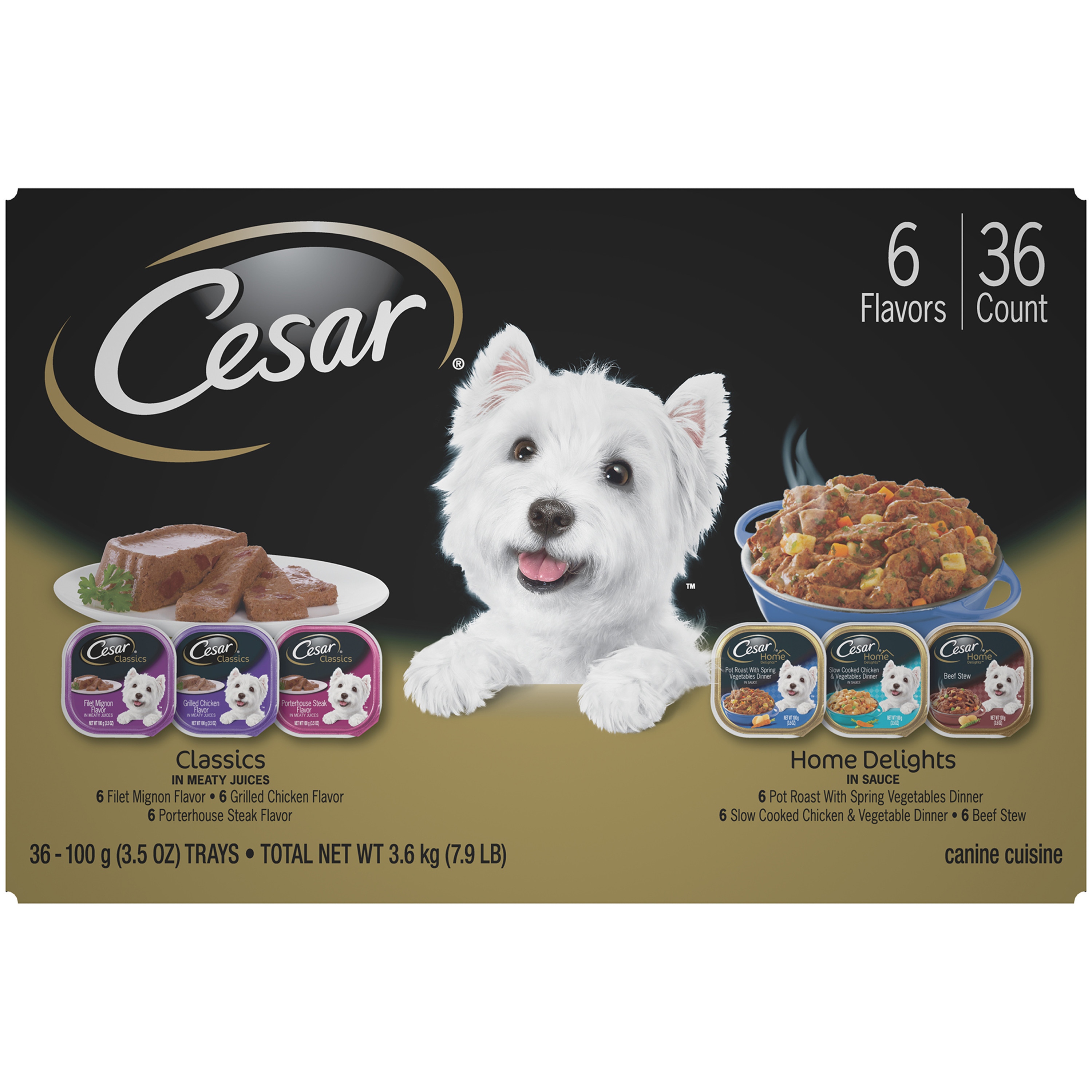Cesar Canine Cuisine and Home Delights Wet Dog Food Variety Pack, (36) 3.5 oz. Trays