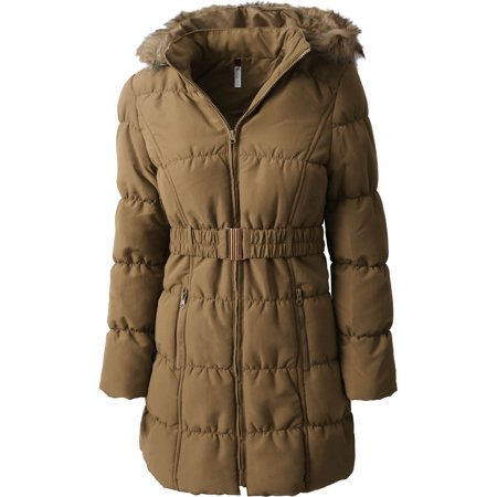 Womens Quilted Puffer Coat with Belt Lightweight Detachable Faux Fur Hoodie Jacket Winter - Outerwear Winter Outerwear