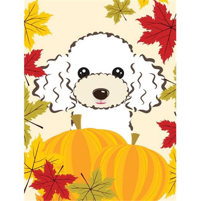 White Poodle Thanksgiving Flag Garden