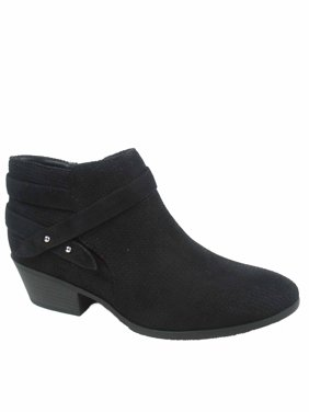dc0abd865b Product Image Women's Round Toe Strappy Perforated Faux Suede Low Heel  Ankle Booties