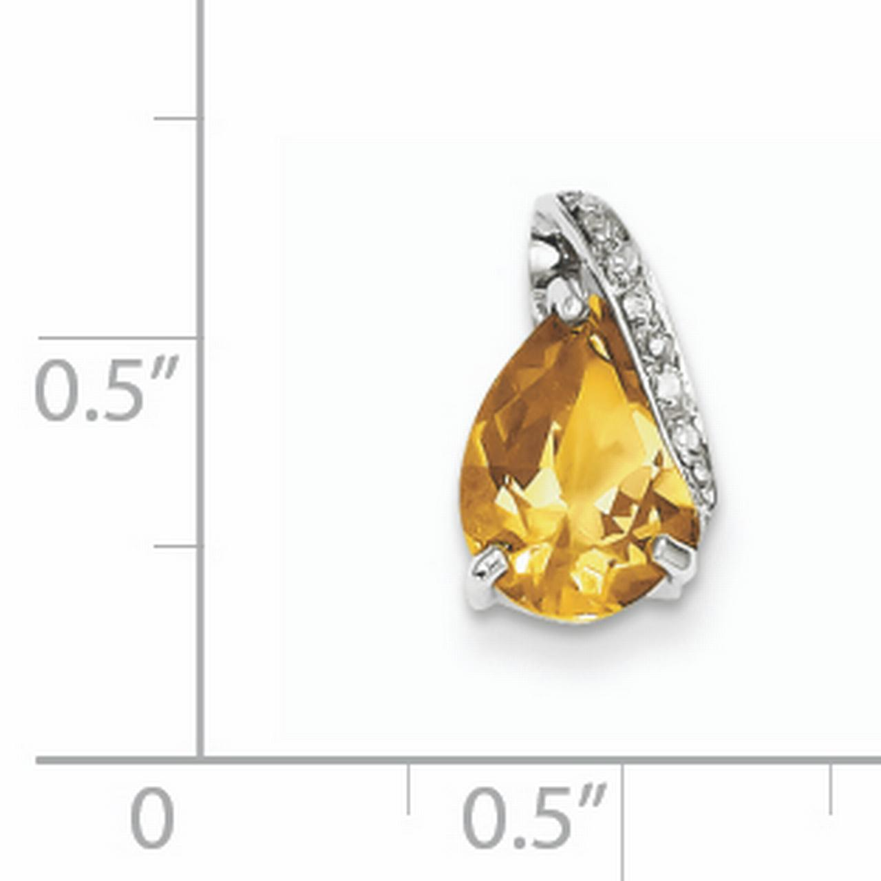 925 Sterling Silver Rhodium Pear Citrine Pendant - image 1 of 2