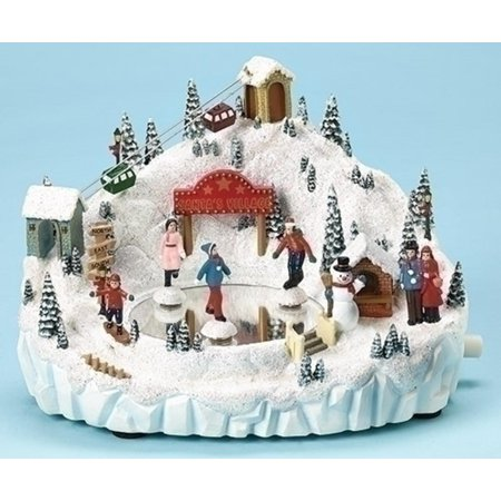Set of 2 Amusements Animated and Musical Skating Pond Christmas Decoration 8.25