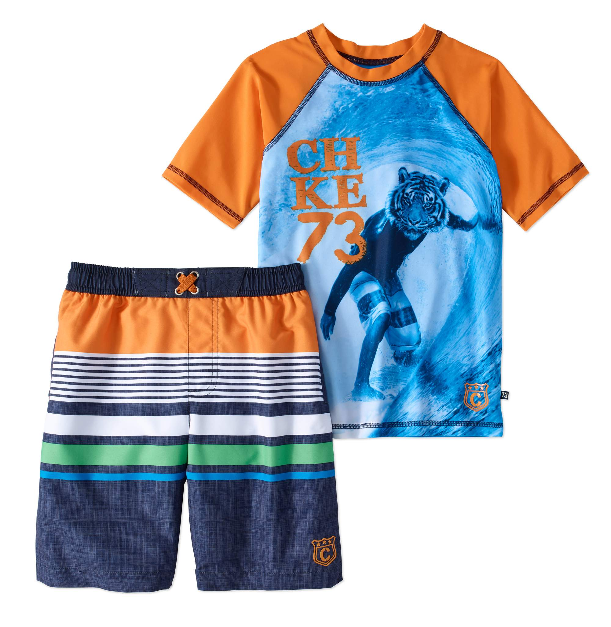 Boys' Tiger Rashguard And Swim Trunk 2 Piece Set