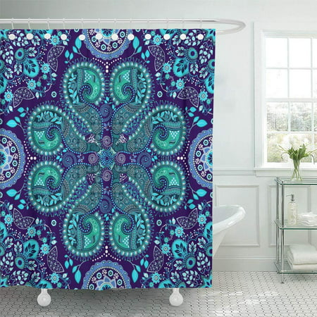 PKNMT Medallion Blue Fantasy Ornamental Able Artistic Asian Carpet Curly Shower Curtain Bath Curtain 66x72