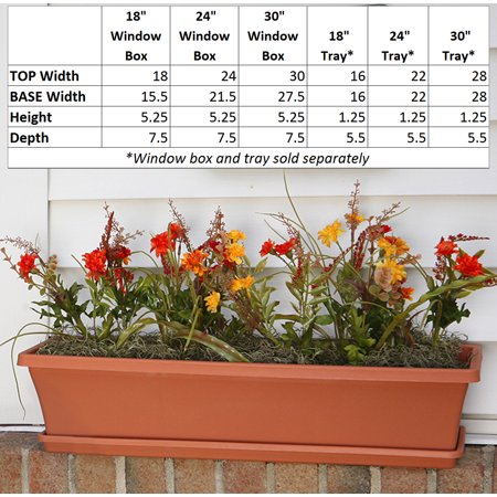 "Bloem Terra Window Box Tray 18"" Terra Cotta"