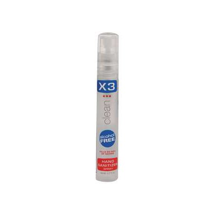 X3 CLEAN 10009 Hand Sanitizer, Size 0.27 oz., Spray