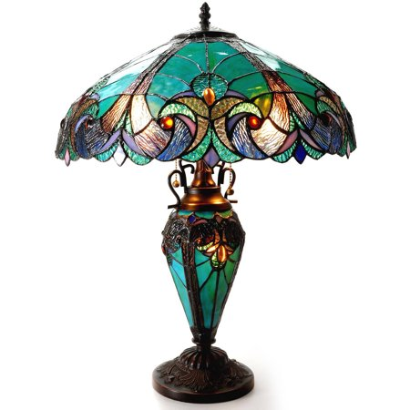 - Chloe Lighting Liaison Tiffany-Style 3-Light Victorian Double Lit Table Lamp with 18