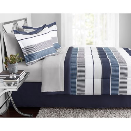 Mainstays Stripe Bed in a Bag Bedding, Full, Blue ()