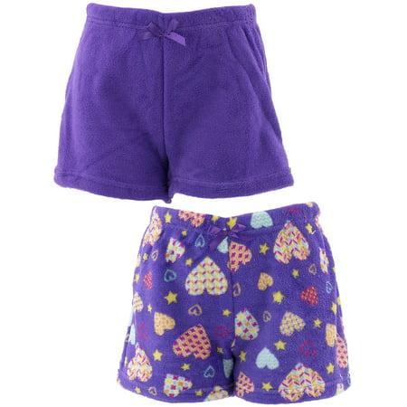 Chili Peppers Girls Hearts 2-Pack Fleece Pajama Shorts](Girls Fleece Pajamas)