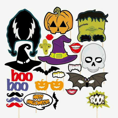 23 Vintage Halloween Photos (23pcs Bar Party Halloween Terror Mask DIY Photo Booth Props On A Stick Party Pub)