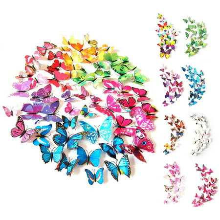 CUH 12 PCS Wall Stickers Creative 3D Butterfly Wall Stickers Art DIY Decoration Decals Wall Art Decors for Home Bedroom Living Room TV Background Wall Kitchen Fridge Window